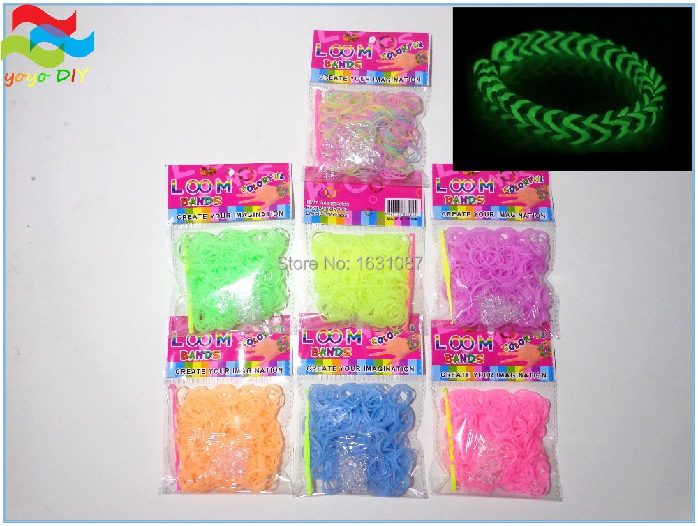 300 Jelly Noctilucent Luminous Grow-in-Dark loom bands kit for make rubber band bracelet with opp twistz bandz (D183)(China (Mainland))
