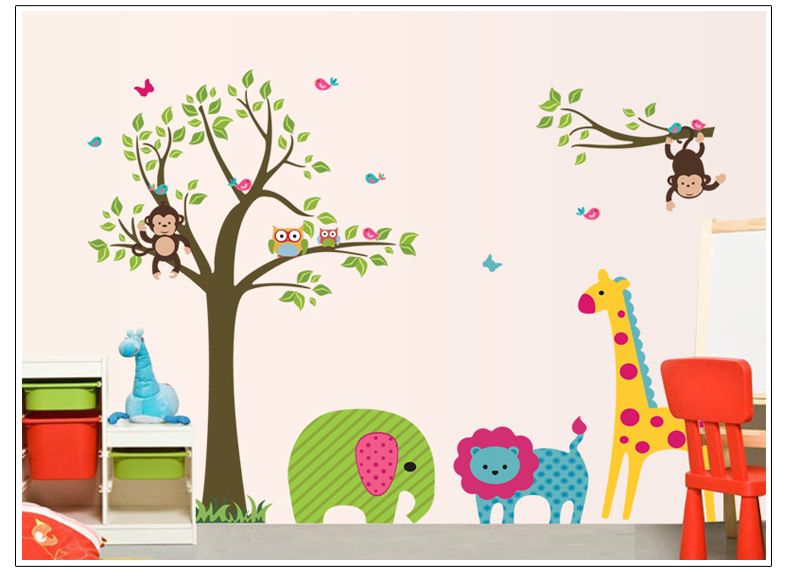 Jungle Thema Slaapkamer : Owls and Tree Wall Stickers