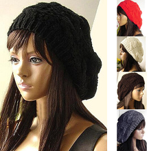 Women Lady Fashion 5 Colors Warm Winter Beret Braided Crochet Knitting Hat Girl Baggy Beanie Hat Ski Cap H6504 P12(China (Mainland))