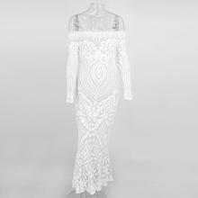 Эластичное блестящее платье с открытыми плечами с вырезом лодочкой облегающее белое платье с длинным рукавом для вечеринки женское платье ...(China)