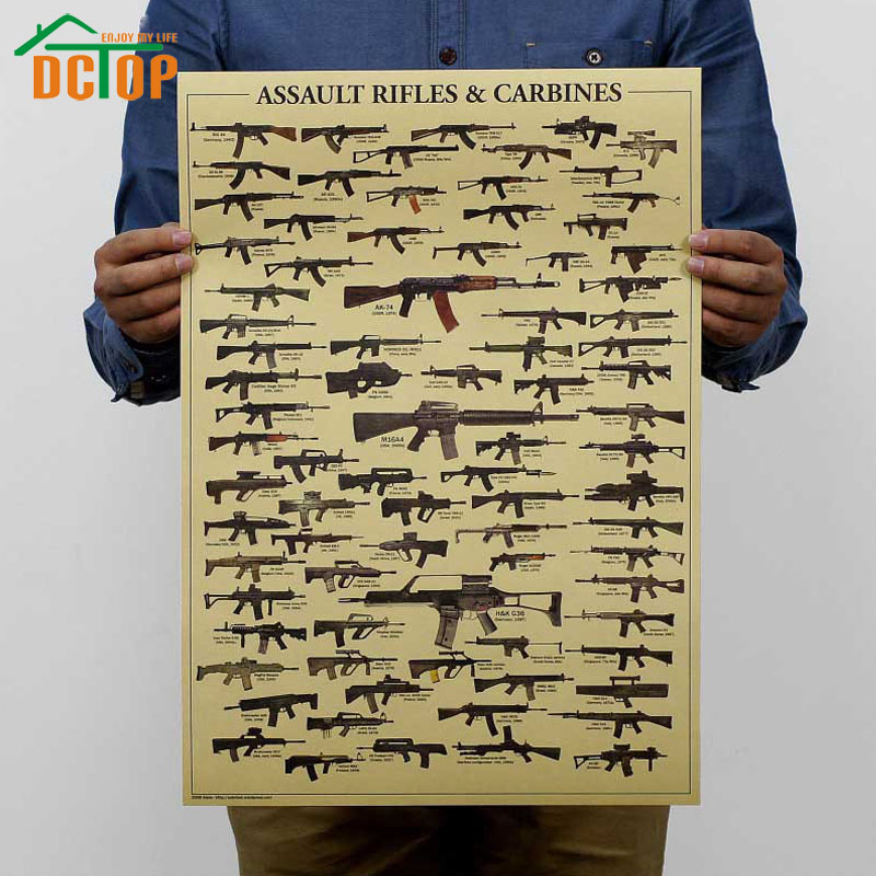 DCTOP Retro Posters All Kinds Of Guns Kraft Paper Wall Stickers Living Room Bedroom Decoration Creative Wall Art Decals(China (Mainland))