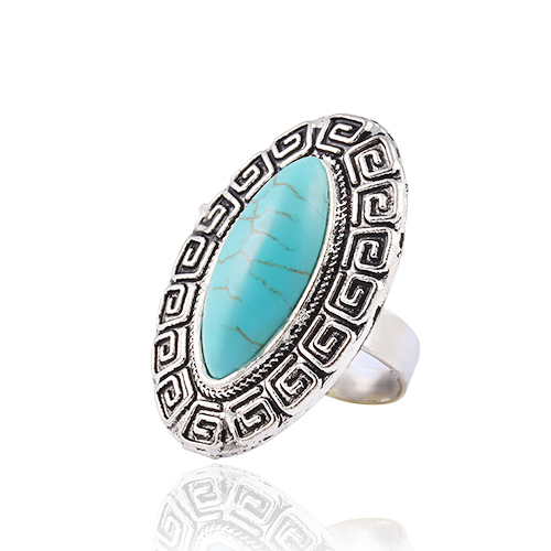 New hot sale Fashion Charm Retro Silver Metal Flowers Turquoise Ring Anniversary Gifts for women men 2014 Wholesale M12(China (Mainland))