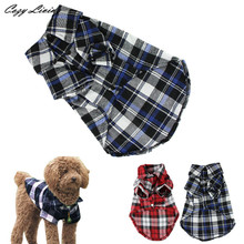 1 PC Pet Clothes For Small Dogs Cats Hot Selling Cute Pet Dog Puppy Clothes Shirt Plaid Size XS/S/M/L Blue Red Color DEC 19TH(China (Mainland))