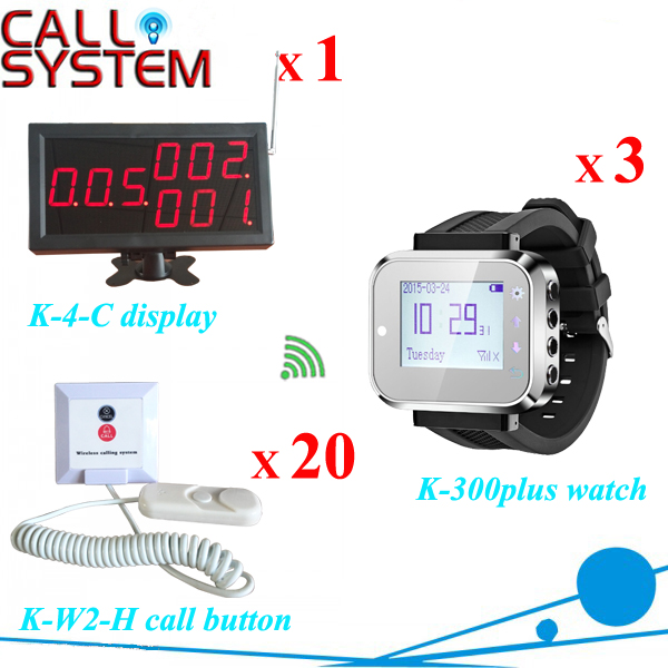 Hospital nurse call system wireless pager system of 1 monitor 3 pager receiver 20 alarm buzzer free shipping(China (Mainland))
