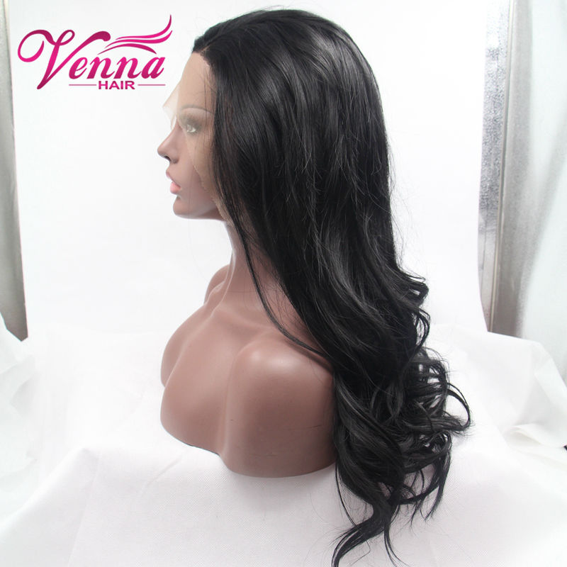 Black Wavy Synthetic Lace Front Wig Heat Resistant Middle Part Cosplay Wigs Female Top Quality Synthetic Wigs<br><br>Aliexpress