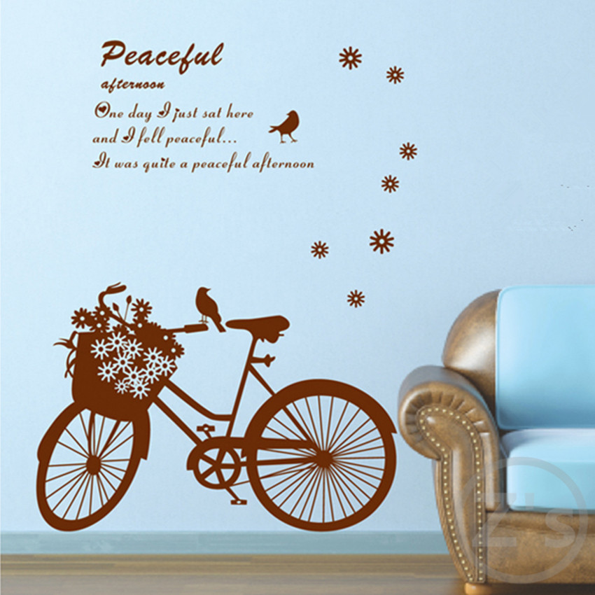 bike decoration stickers bicycle decal wall sticker home decor diy adhesive art mural picture poster removable vinyl  AY7021(China (Mainland))