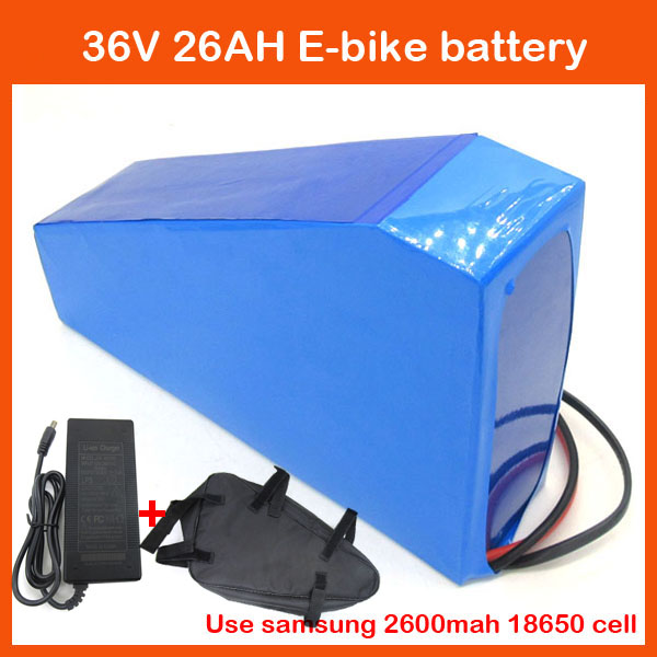 36V 1000W Triangle battery 36V 26AH Electric Bike lithium battery pack with battery bag Use samsung 2600mah cell 42V 2A charger(China (Mainland))
