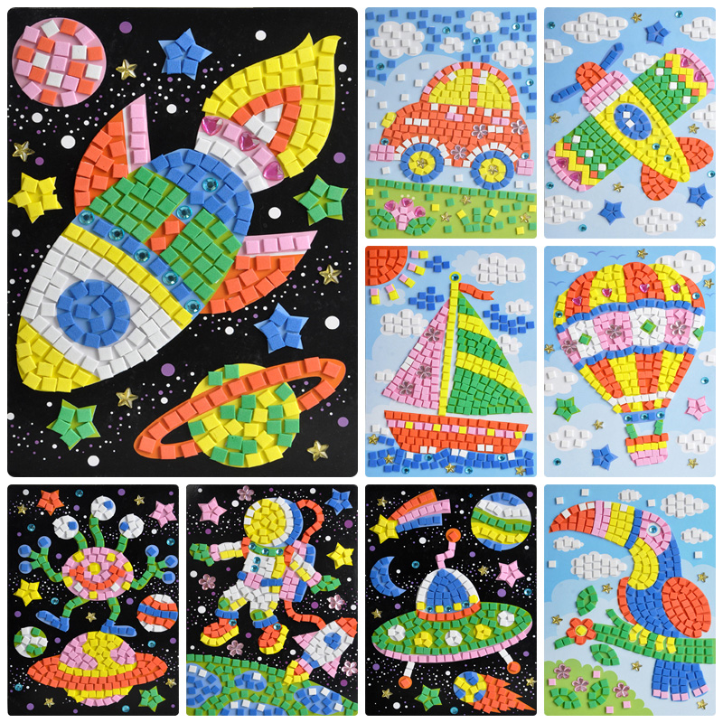 24 Styles EVA 3D Mosaics Puzzle Creative Sticker Game Animal Transport Art Craft Puzzle for Kids Educational Toys for Children(China (Mainland))