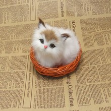 small cute simulation sitting cat toy polytene & fur white cat toy in a small baskat gift about 12x10cm