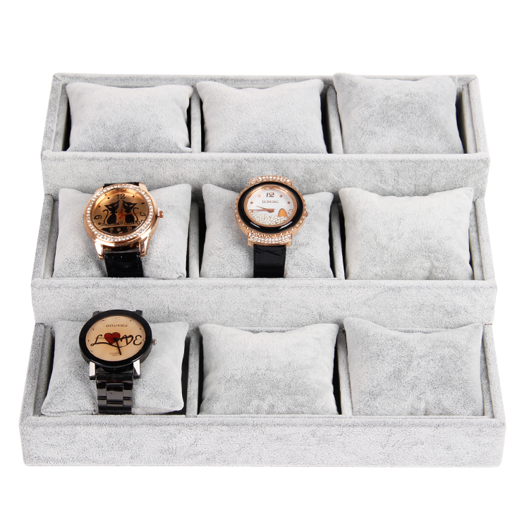 26*24 Gray Velvet Jewelry Display Tray With 3 Layers Pillow For Bangle Bracelet Watch Stand Holder Show Case New Arrival(China (Mainland))