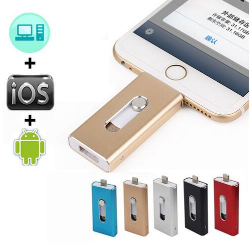 Lightning OTG Flash Drive 32GB 64GB 128GB 256GB 1TB For iOS 10 and USB For Computer PC For Tablet OTG Pendrive for iPhone U Disk(China (Mainland))