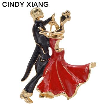 CINDY XIANG Enamel Waltz Dancer Brooches For Women Beautiful Dancing Lover Brooch Pin Coat Hat Suit Broches Bijouterie New 2017
