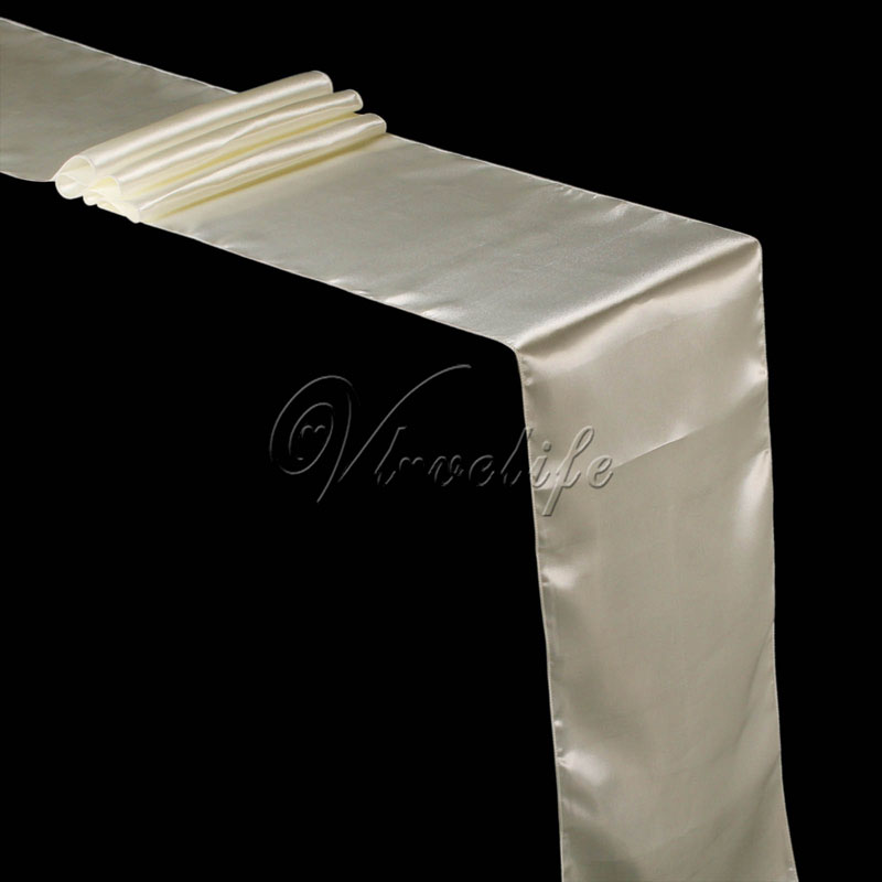 Free shipping new ivory cream satin table runner 12 x 108 for 12 x 30 table