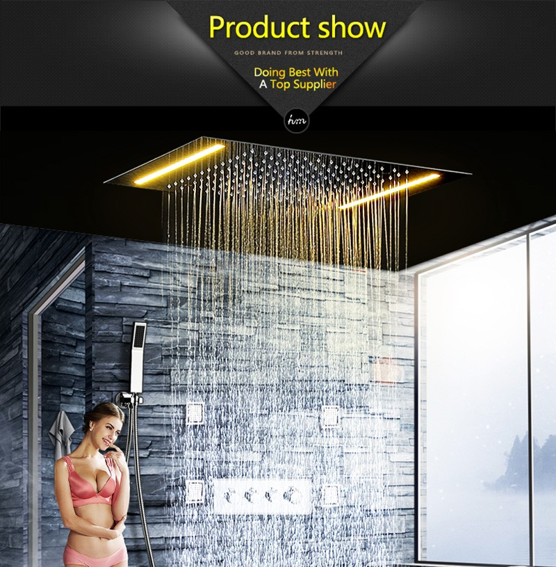 hm LED Rain Shower Set with 2 Lights with Handshower Body Jet Massage Thermostatic Mixer Bathroom Ceiling (10)