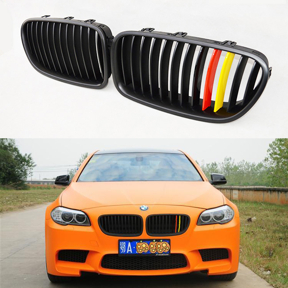 F10 Matt German flag 3 color ABS Auto Front Bumper Mesh Grill Guard for BMW F10 2011-2013 M5 Style(China (Mainland))