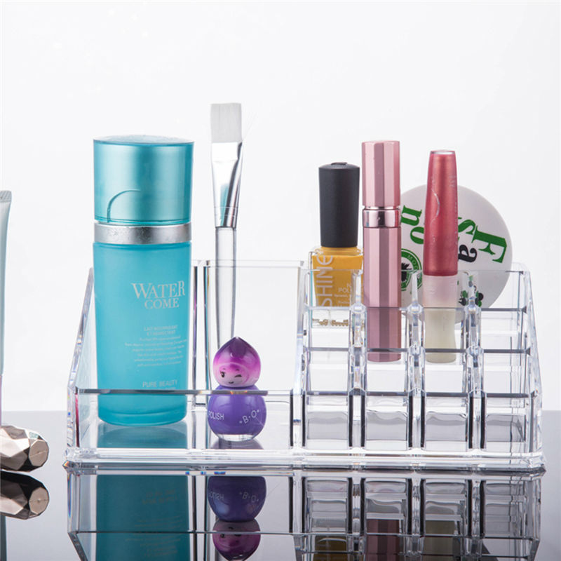 US Shipping 1pc Acrylic Jewelry Cosmetic Organizer Storage Box For Makeup Display Rangement Maquill Color Clear moa0001(China (Mainland))