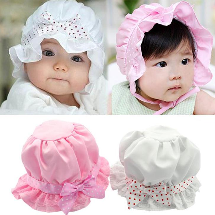 New Fashion Lovely Newborn Baby Lace Silk Bowknot Summer Unisex Kids Infant Princess Sun Hats Caps Pink/White 2-12 months 29(China (Mainland))
