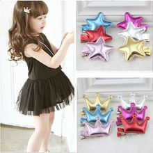 Korean Hot Sell Glossy Texture PU Leather Hairpins Star Crown Hairpins Kid Hair Clips Baby Hair Accessories
