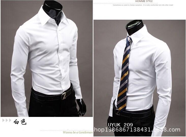 17Color M XXL Fashion Men Shirt Long Sleeve 2015 New Mens Shirts Camisa Slim Fit Masculina