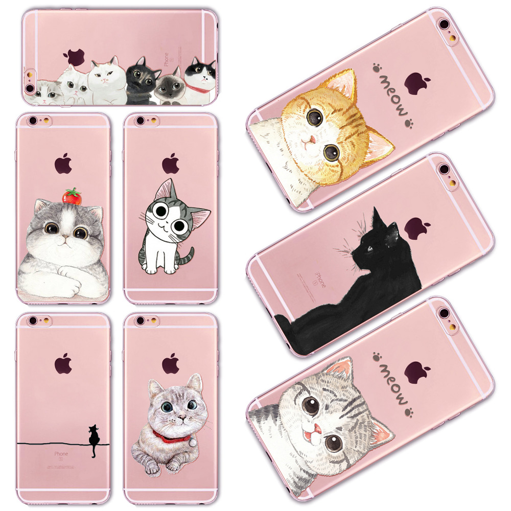 Cartoon animal Phone Case iPhone 6 6s 5 5s SE 6plus Cover lovely white black Cat Design Soft Clear Silicon TPU Shell - poplar1115 store