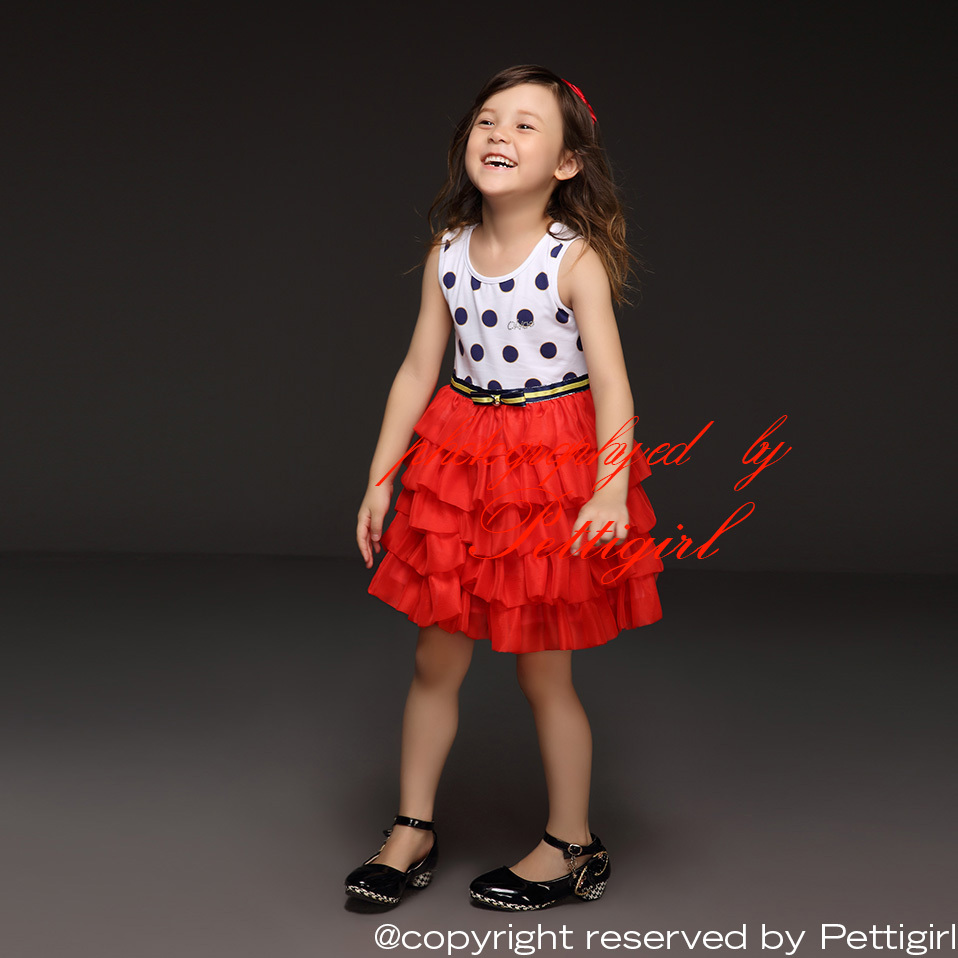 2015 New Arrivals Kids Girl Dress Dot  Bow Layer Chiffon Cake White And Red Princess Dress Summer Children Clothing Hot Selling(China (Mainland))