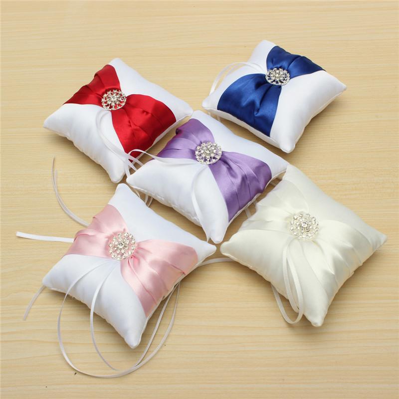 Modern Design Beautiful White Satin Bowknot Diamante Romantic Wedding Ring Pillow Wedding Ring Pillow Cushion(China (Mainland))