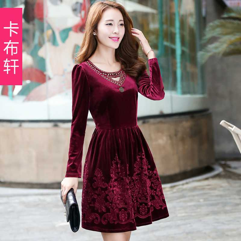 Brand Autumn Embroidery Womens Dress 2015 M-2XL Size Winter Dress Woman Long Sleeve V neck Velvet Dresses Women Clothing H6647Одежда и ак�е��уары<br><br><br>Aliexpress