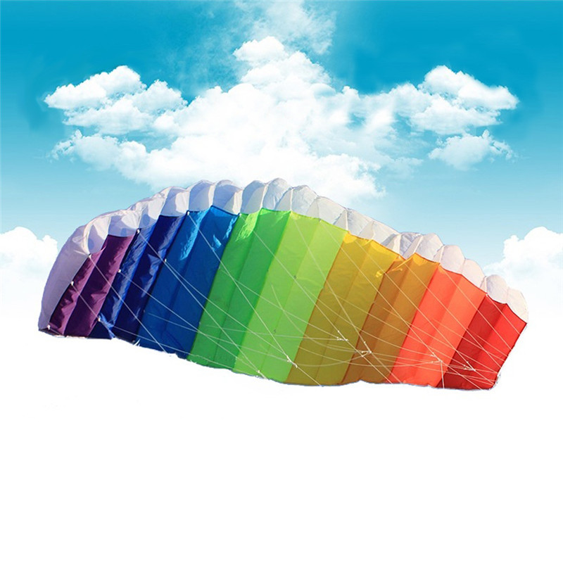 2016 New Hot Power Dual Line Stunt Parafoil Parachute Rainbow Sports Beach Kite with 2pcs 30m Nylon Flying Lines For Beginner(China (Mainland))