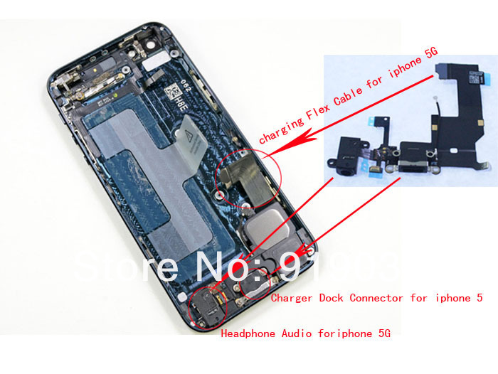 Original Charger Charging dock Flex Cable Headphone Jack iPhone 5 - san huang's store