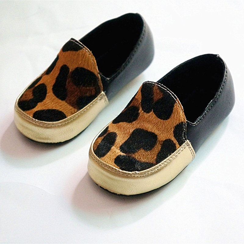 New Leopard Genuine Leather handmade Baby Moccasins soft First Walker Chaussure Baby Shoes Bebe newborn Horse hair shoes(China (Mainland))