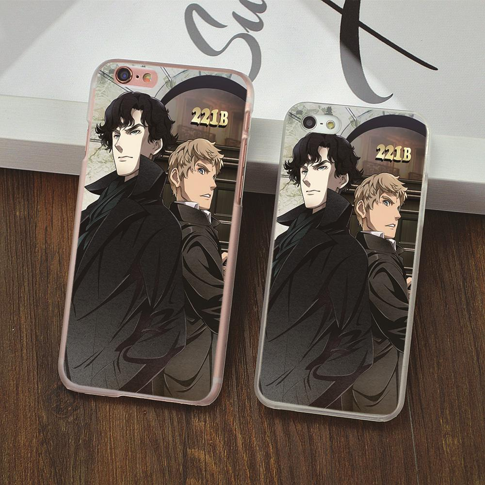 Old Fashion Telephone Booth for iPhone 4s 5 5s 5c 6 6s Plus Hard Phone Case Sherlock Holmes in Door 221B Design Back cover