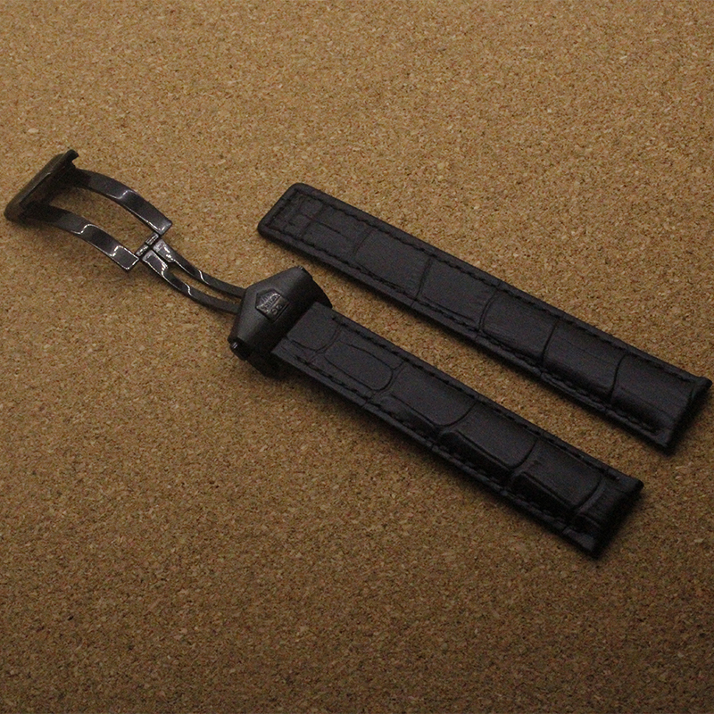 Promotion 19mm 20mm 22mm New high quality Alligator Crocodile Grain Black Genuine Leather Watch Band Strap For BRAND luxury men<br><br>Aliexpress