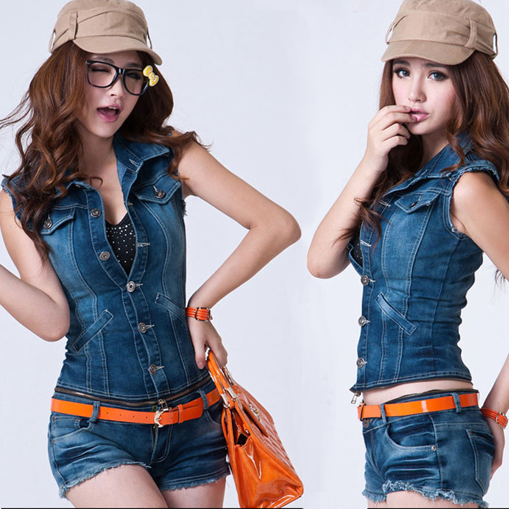 Sexy Crinkled Denim Jeans Zip jumpsuit Blue Washed Striped vest and shorts Zipper Conected 2 Pcs Suit Belt Overalls Jeans Romper(China (Mainland))