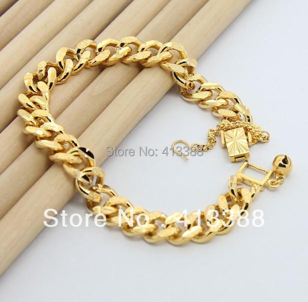 Latest Fashion 9.5mm Jewelry 24K Gold Chains Bracelet Vacuum Plating Hot Items Fashion Bracelet Men Free shipping BR1192(China (Mainland))