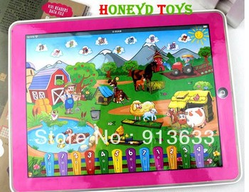 Free Shipping Y-Pad Funny Farm Computer Learning Machine English Computer for Children /kid educational toys