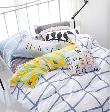 Modern geometric bed sets teenage kids,full queen 100%cotton nordic double home textiles flat sheet quilt cover pillow case(China (Mainland))
