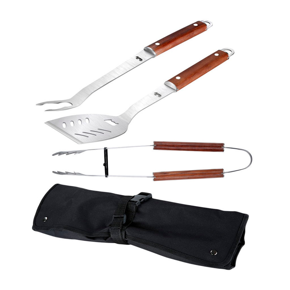 OUTU 3PCS Spatula Fork Tongs Nylon Bag BBQ Grill Tools Set with Stainless Steel Rosewood Handle for Outdoor Cooking Accessories(China (Mainland))