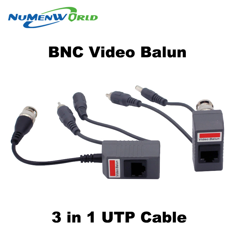 Hot UTP CCTV BNC video Balun power Passive Balun Rj45,POE Power Video Audio 3 in 1 Transceivers CCTV spare parts free ship(China (Mainland))
