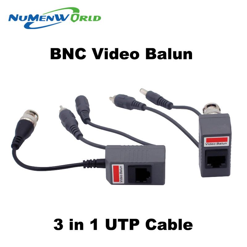 Hot UTP CCTV BNC video Balun power Passive Balun Rj45,POE Power Video Audio 3 in 1 Transceivers CCTV spare parts free ship(China (Mainland))