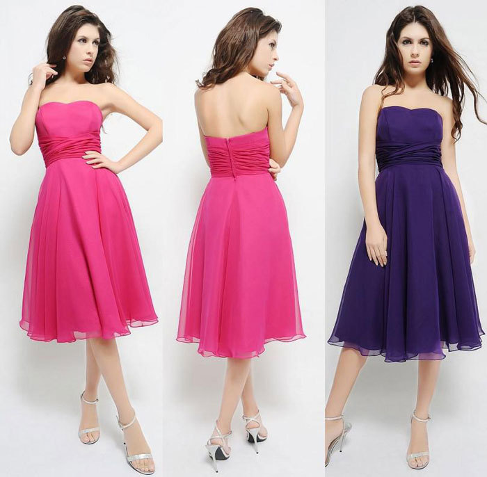 Dark purple short bridesmaid dress 2015 new sleeveless for What to wear under strapless wedding dress