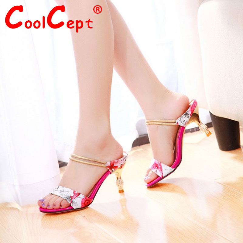 CooLcept free shipping quality high heel genuine leather sandals platform fashion female shoes P14572 hot sale EUR size 33-40<br><br>Aliexpress