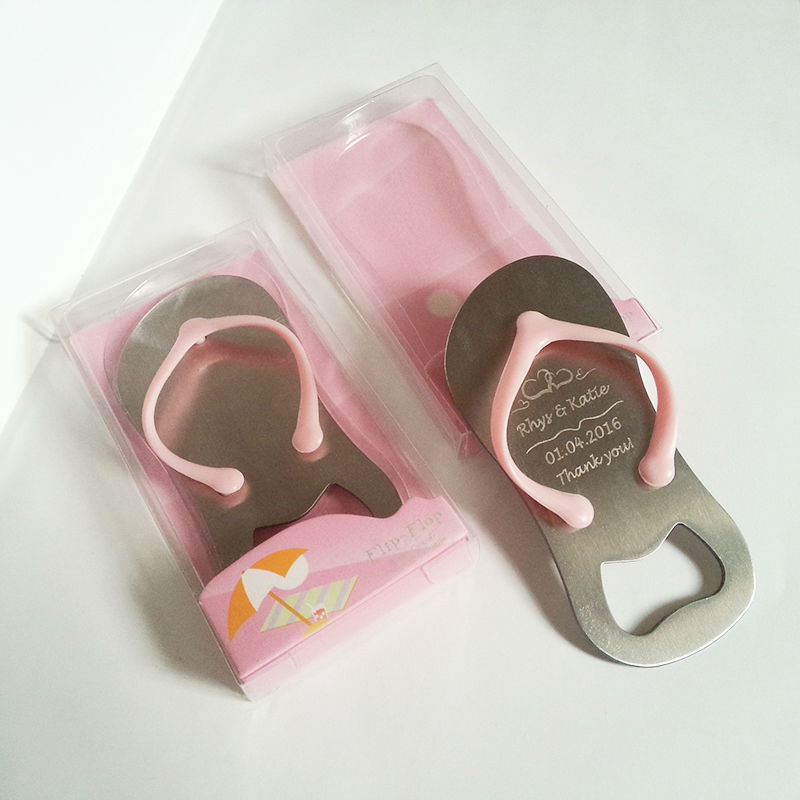 Flip flop bottle opener personalized wedding favors for for Bottle opener wedding favor
