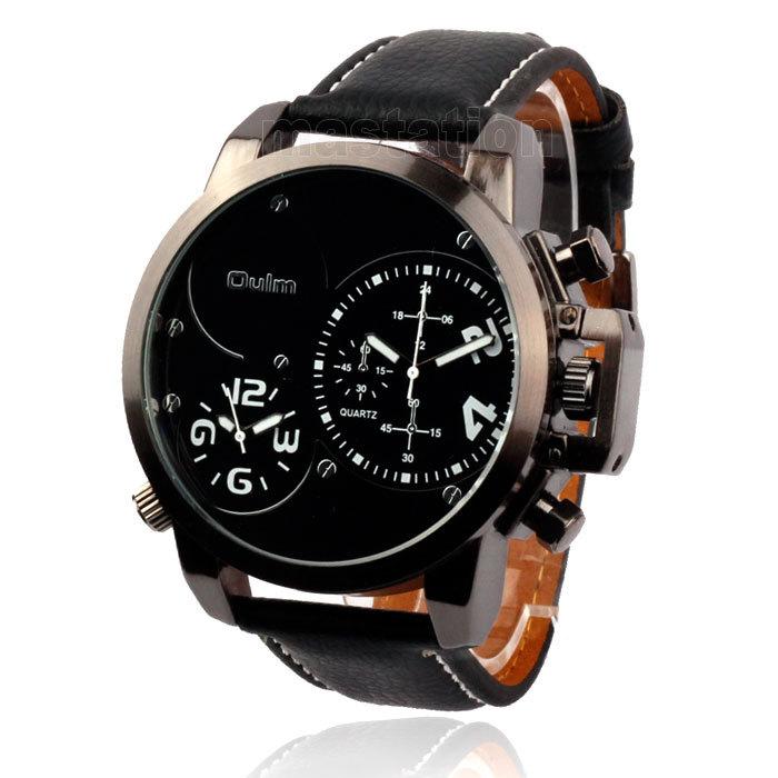 2015 Oulm Genuine Leather New Fashion Men Sport Watch Two Time Zone Watch Men s Quartz