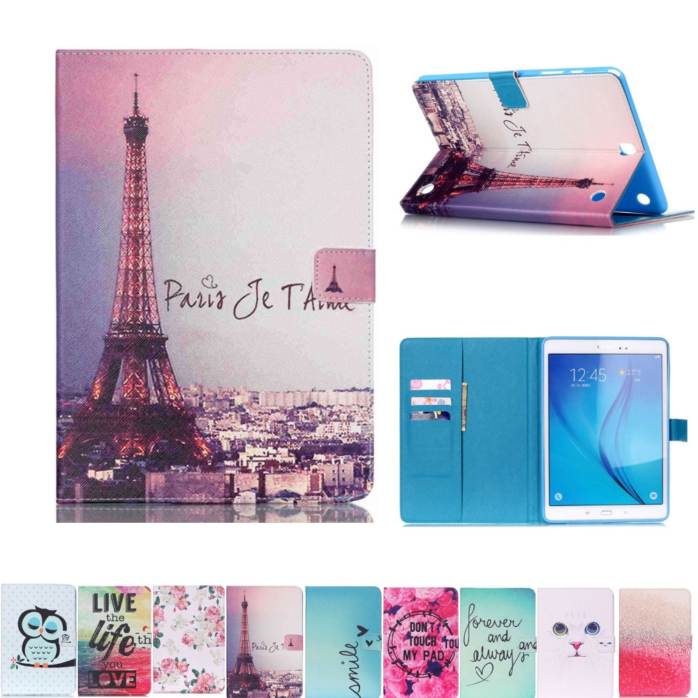 Cat owl tower PU Leather Flip Wallet Stand Case Cover Samsung Galaxy Tab 9.7 T550 T555 Tablet pc cover+ stylus (gift) - DaXing Trading Co., Ltd store