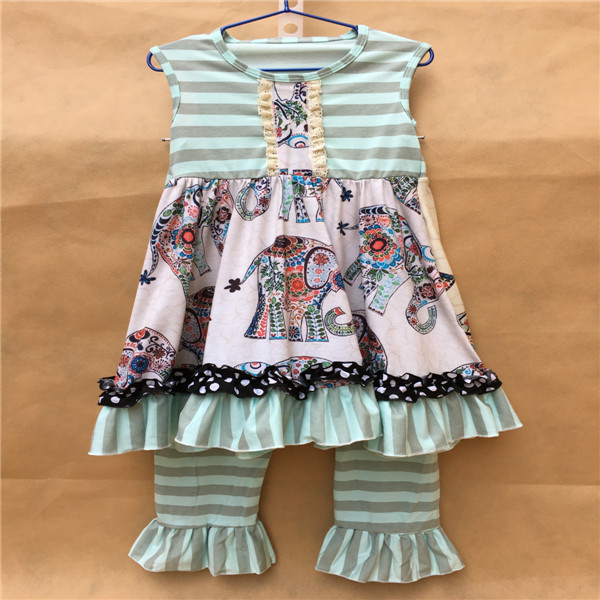 Wholesale childrens boutique clothing fashion cute baby girls elephant outfits spring summer clothing <br><br>Aliexpress