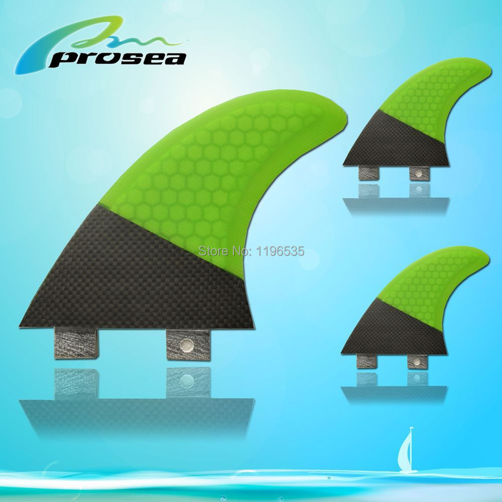 New FCS style G5 size threster set green with black surfboard fins(China (Mainland))