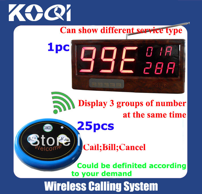 Resturant Waiter Calling System(full set including 1pcs receiver+25pcs button)(China (Mainland))