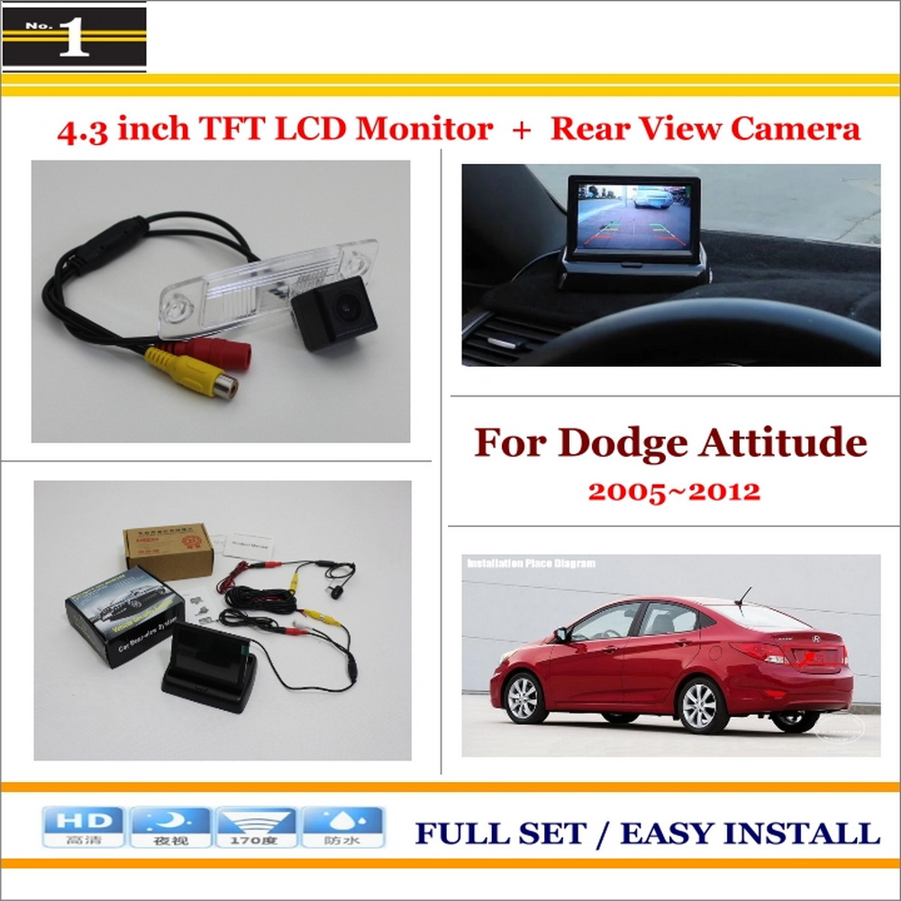 "Car Reverse Backup Rear Camera + 4.3"" TFT LCD Screen Monitor = 2 in 1 Rearview Parking System - For Dodge Attitude(China (Mainland))"