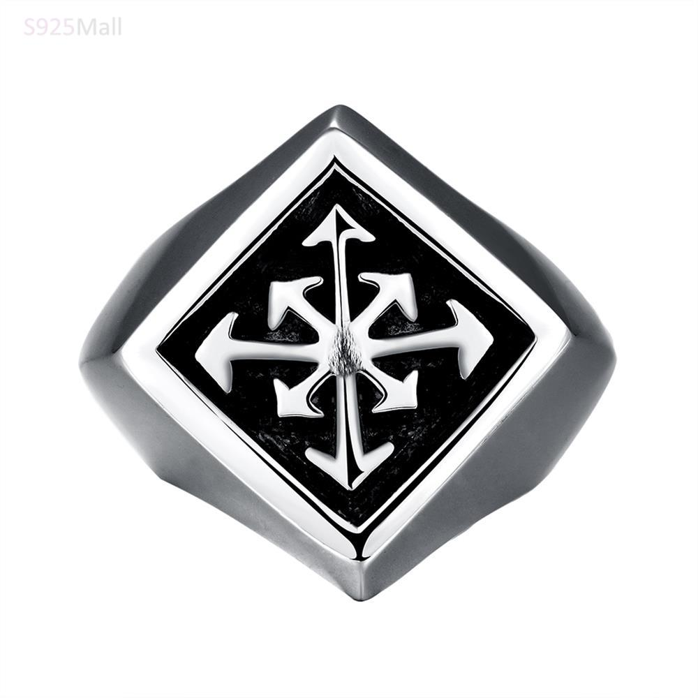 2016 new product GMYR225 fashion vintage stainless steel hollow symmetry rings Unique Star celebrity men cool biker styles ring(China (Mainland))