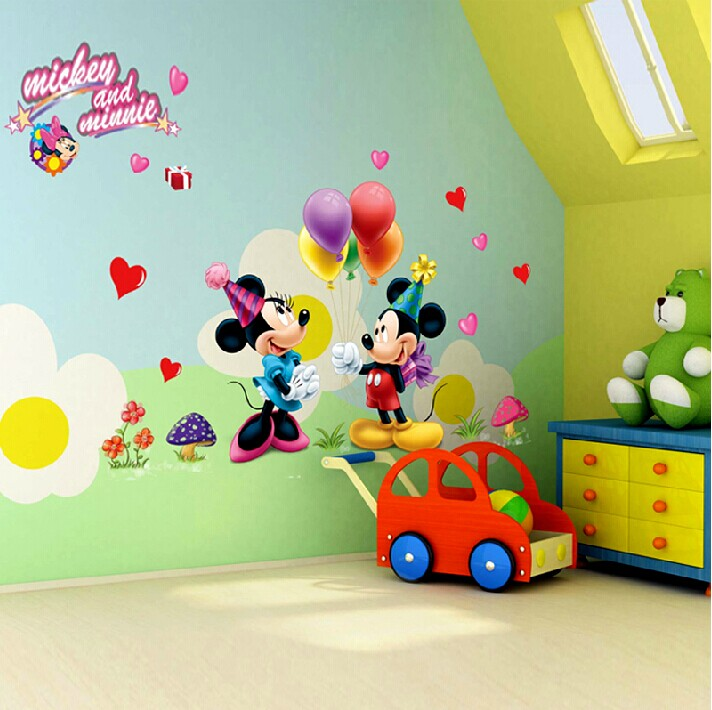 Cartoon Mickey and Minnie Mouse Wall Stickers Removebale Kids Room ...